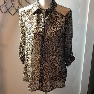 IZ Byer Animal print sheer with lace top